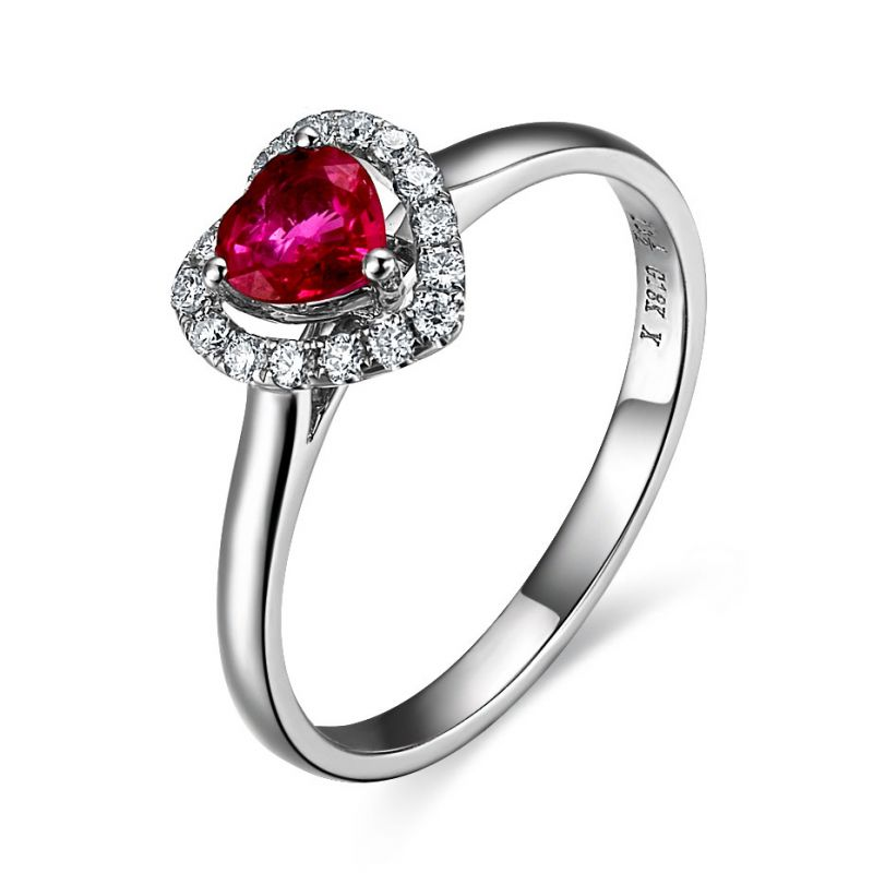 Bague glamour rubis et diamants en or blanc - Mon coeur