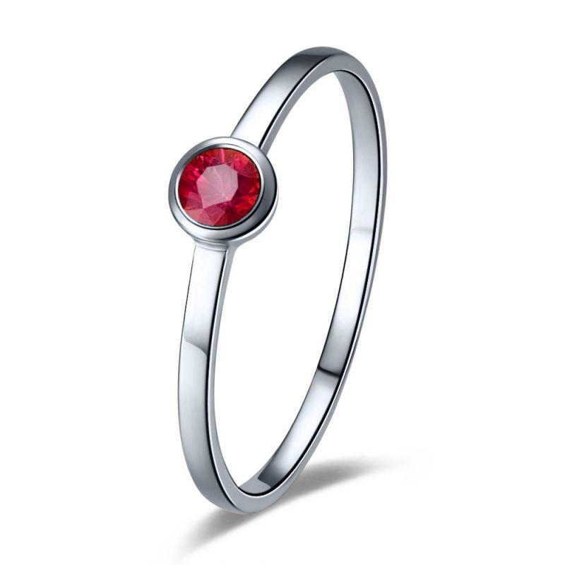 Bague anneau solitaire en rubis - Or blanc 18cts - Sertissage clos