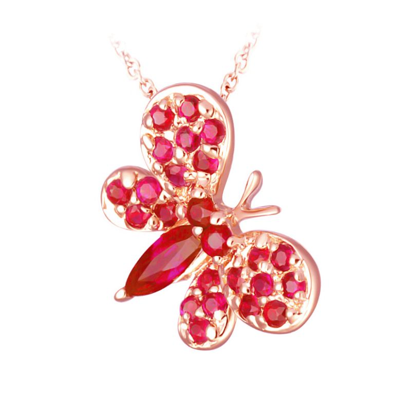 Pendentif papillon or rose - Rubis de Birmanie