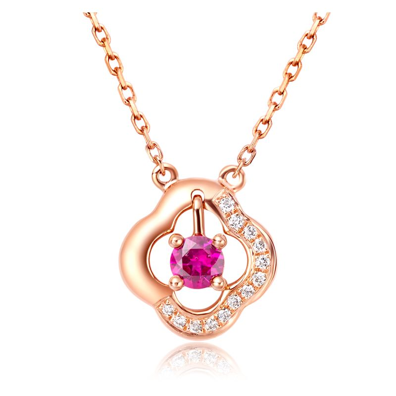 Pendentif fleur Or rose -  Rubis et Diamants en pendeloque