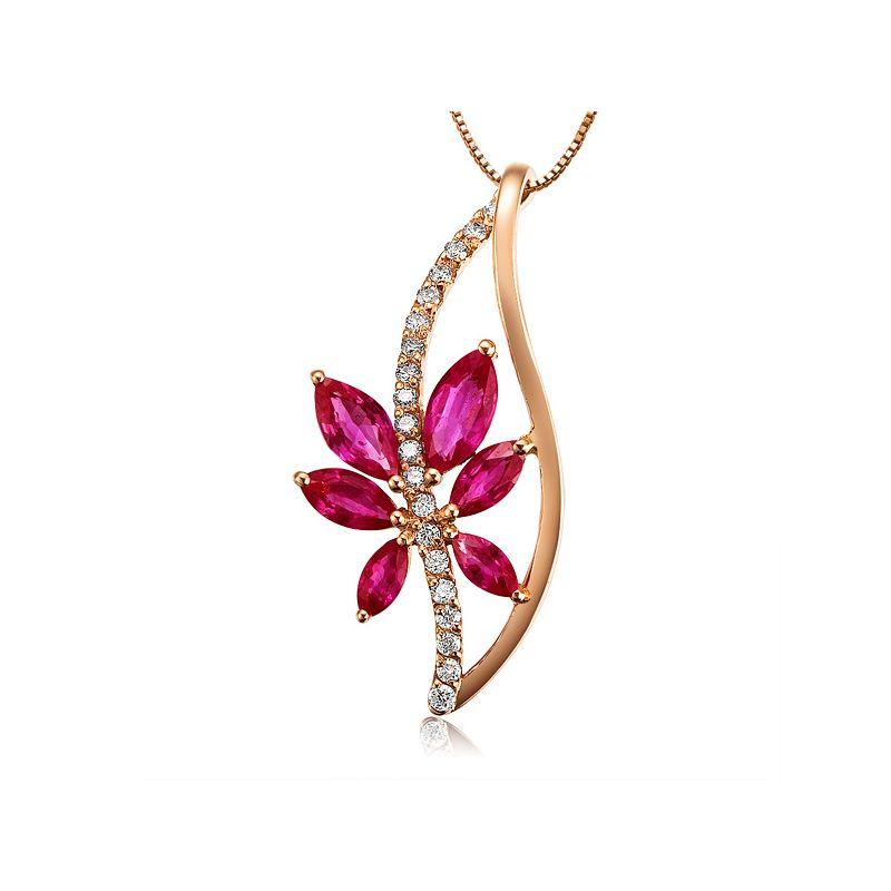 Fleur grimpante  - Pendentif rubis fleur grimpante - Or rose 18cts - Tige diamantée
