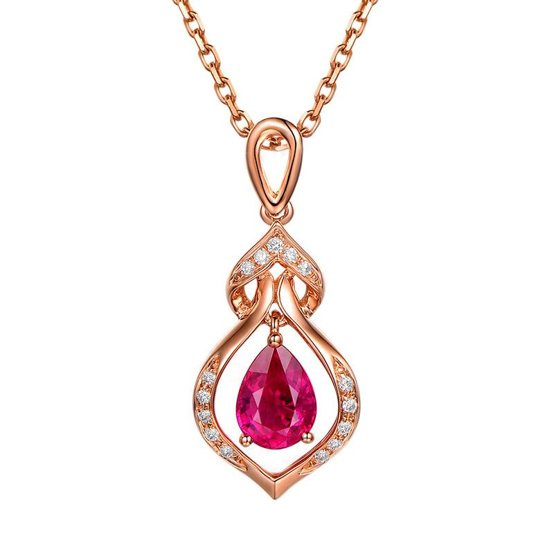 Pendentif rubis 1 carat forme poire - Or rose 18cts, diamants