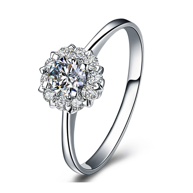 Solitaire coeur caillouté - Or blanc - Pavage diamants 0.43ct