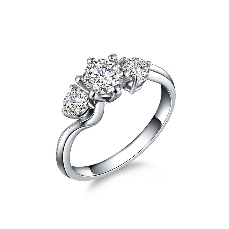 Solitaire trilogie or blanc - Bague de fiançaille 3 diamants
