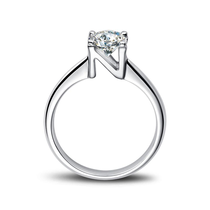 Bague prénom - Lettre N - Diamant, or blanc