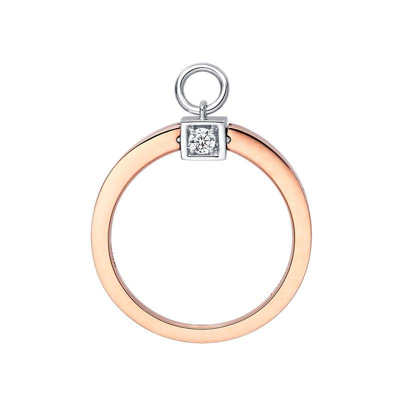 Solitaire pendentif - Bague de mariage en or blanc, rose et diamants