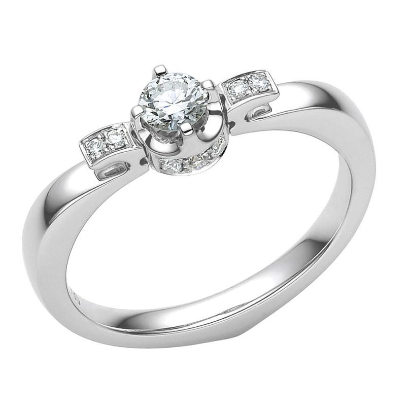Solitaire or blanc - Solitaire bague diamants 0.30ct - Fiancaille