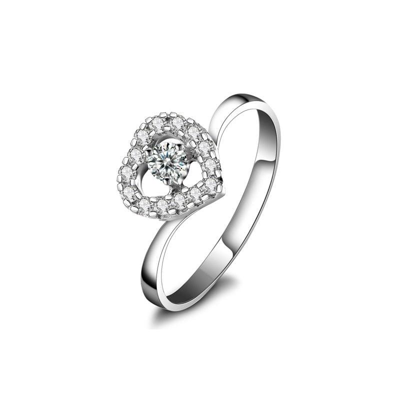 Coeur de diamants - Bague solitaire or blanc