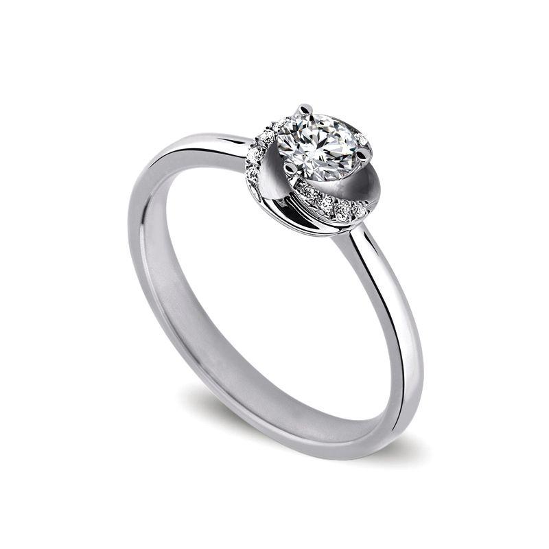 Solitaire tourbillonnant or blanc - 10 diamants de 0.225 carat