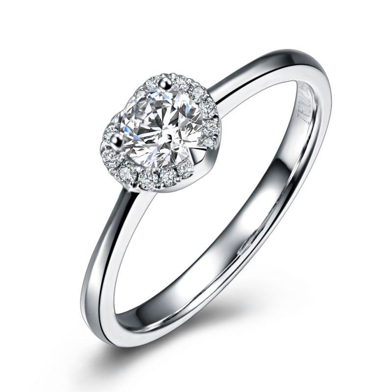 Solitaire or blanc - Mon coeur de diamants pavés