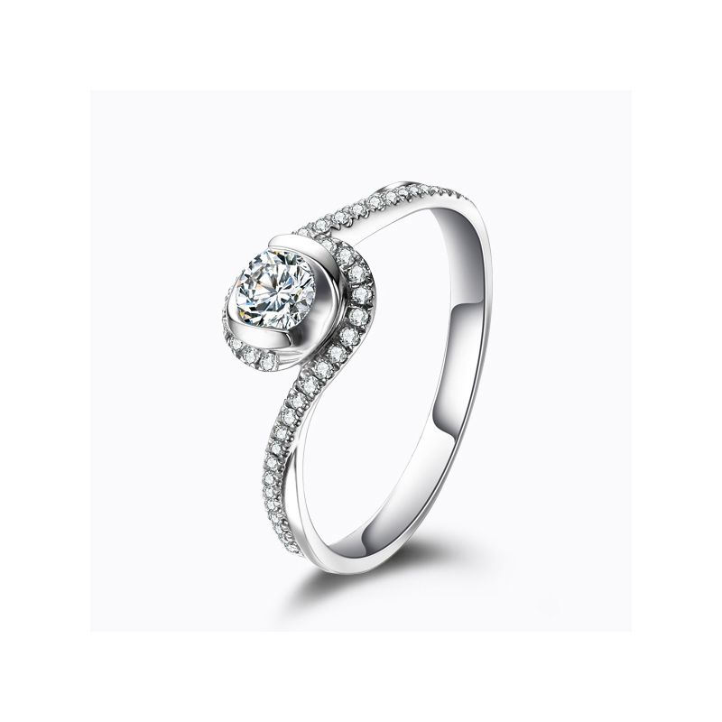 Bague solitaire diamants en or blanc - Je t'appartiens