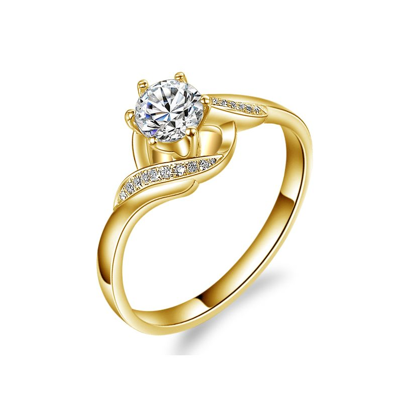 Bague solitaire enlacée diamants - Bague elliptique or jaune