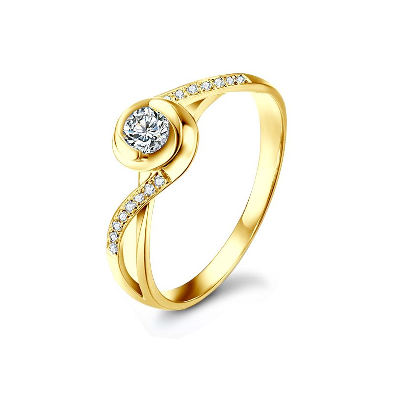 Bague solitaire en or jaune - Alfred de Musset - A Julie