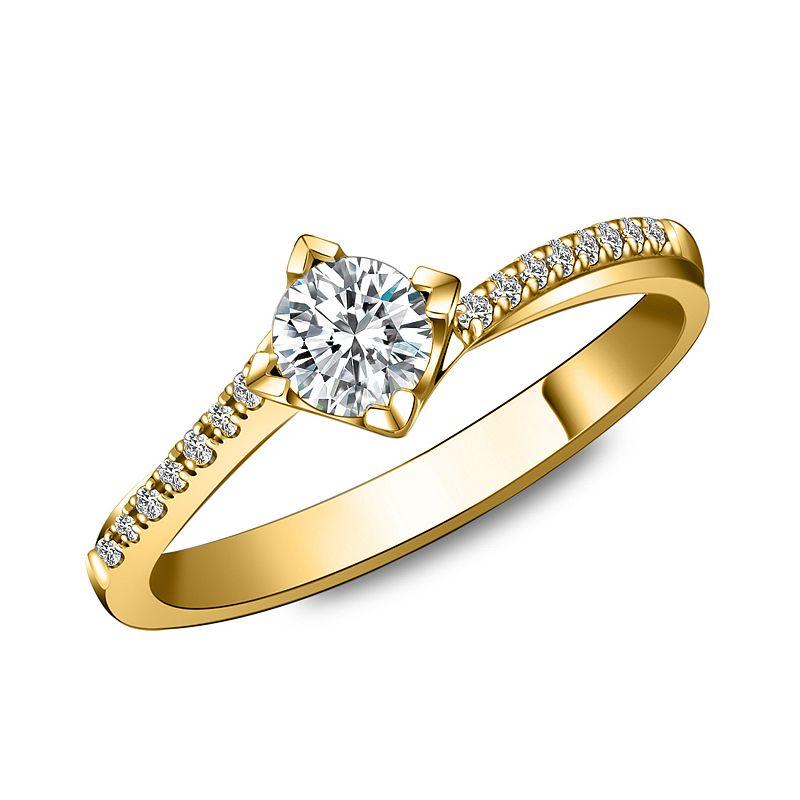 Bague solitaire bordure diamantée - Or jaune 18 carats