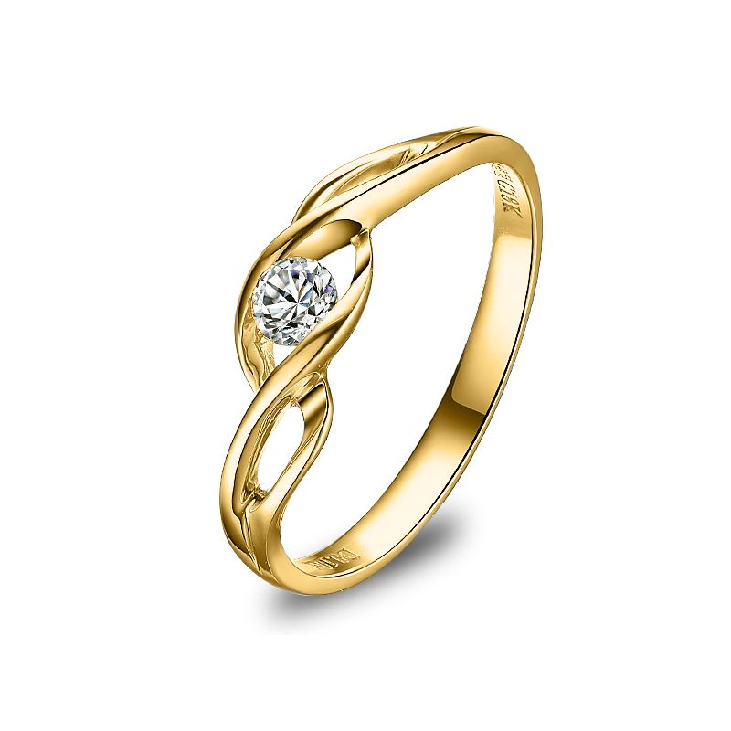 Diamant solitaire or jaune - Maillon entrelacé