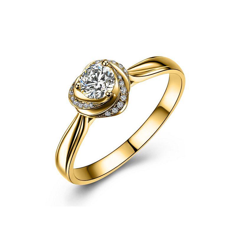 Solitaire or jaune et diamants - Bague Mon Coeur de Rose