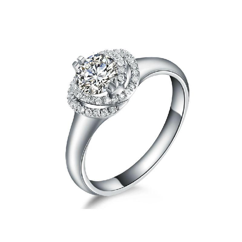 Bague solitaire gracieux - Diamants enroulés