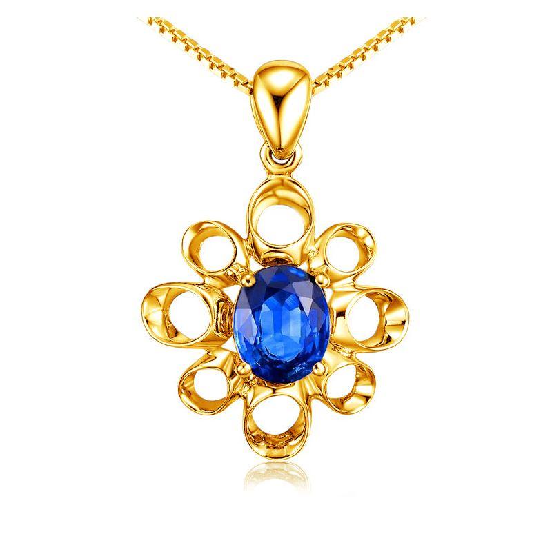 Bijou pendentif fleur - Or jaune 18 carats - Saphir