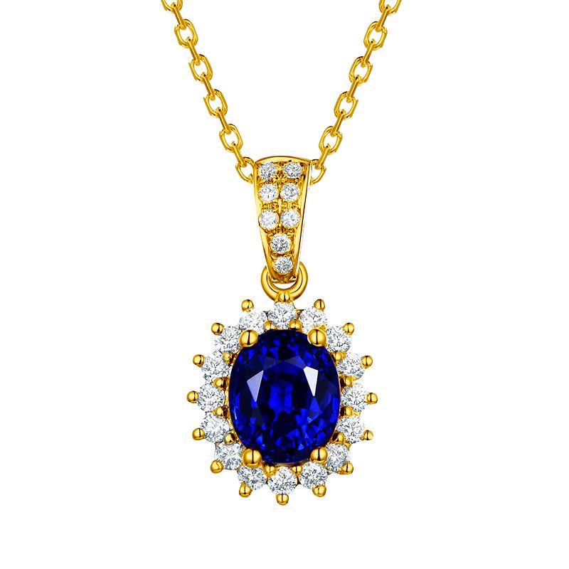 Pendentif Or jaune diamants et saphir 1.50cts