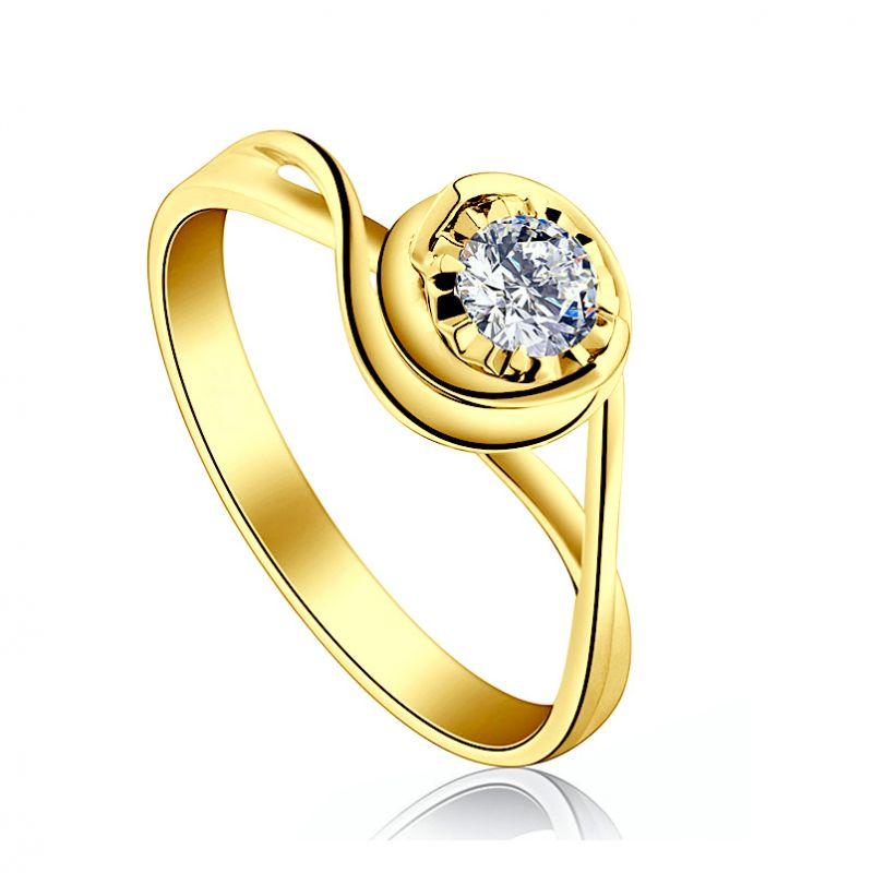 Solitaire bague ensorcelée - Diamant 0.20 carat - Or jaune 750/1000