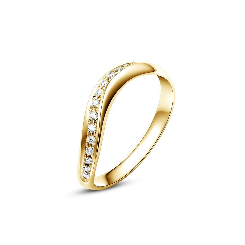 Alliance ondulée or jaune - Alliance femme avec diamants