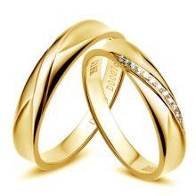 Alliance homme et femme en or jaune et diamants