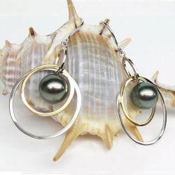 Boucles d'oreilles cerles d'or et perles de tahiti