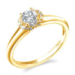 Solitaire bague en or jaune 18cts - 21 Diamants ronds 0.385ct