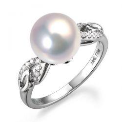 Bague or blanc perle eau douce diamant