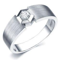 Bague Homme or blanc diamant