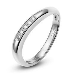Alliance Femme or blanc diamant