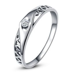 Alliance de mariage solitaire or blanc 18 carats, diamant