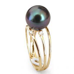 Bague perle noire Or jaune 3 anneaux diamants