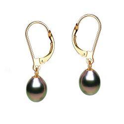 Boucles oreilles perles noires or jaune dormeuses