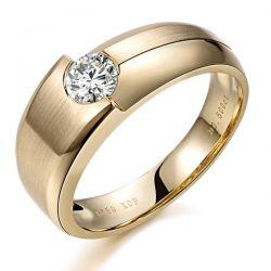 Bague chevalière homme or jaune diamant