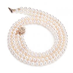 Collier 2 rangs de perles blanches de culture de Chine