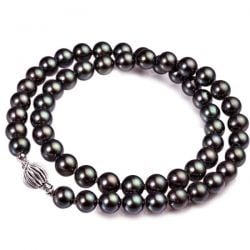 Collier perles noires akoya