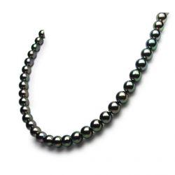 Collier perles de mer Akoya noires du Japon