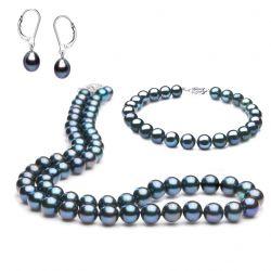 Parure perles noires - Perle de culture noire - Or blanc