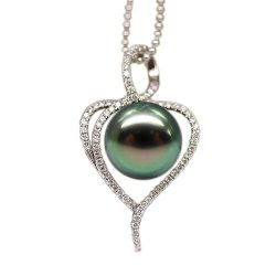 Pendentif diamant perle tahiti or blanc