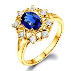 Bague pour fiancaille or Or jaune, diamants et gros saphir