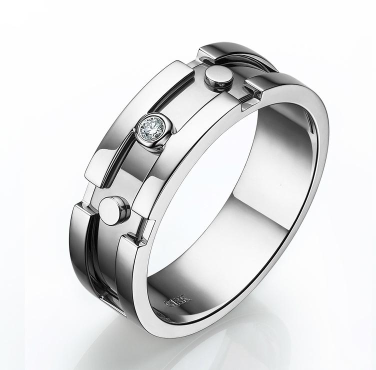 bijouterie bague pour homme originale anneau or blanc diamant. Black Bedroom Furniture Sets. Home Design Ideas
