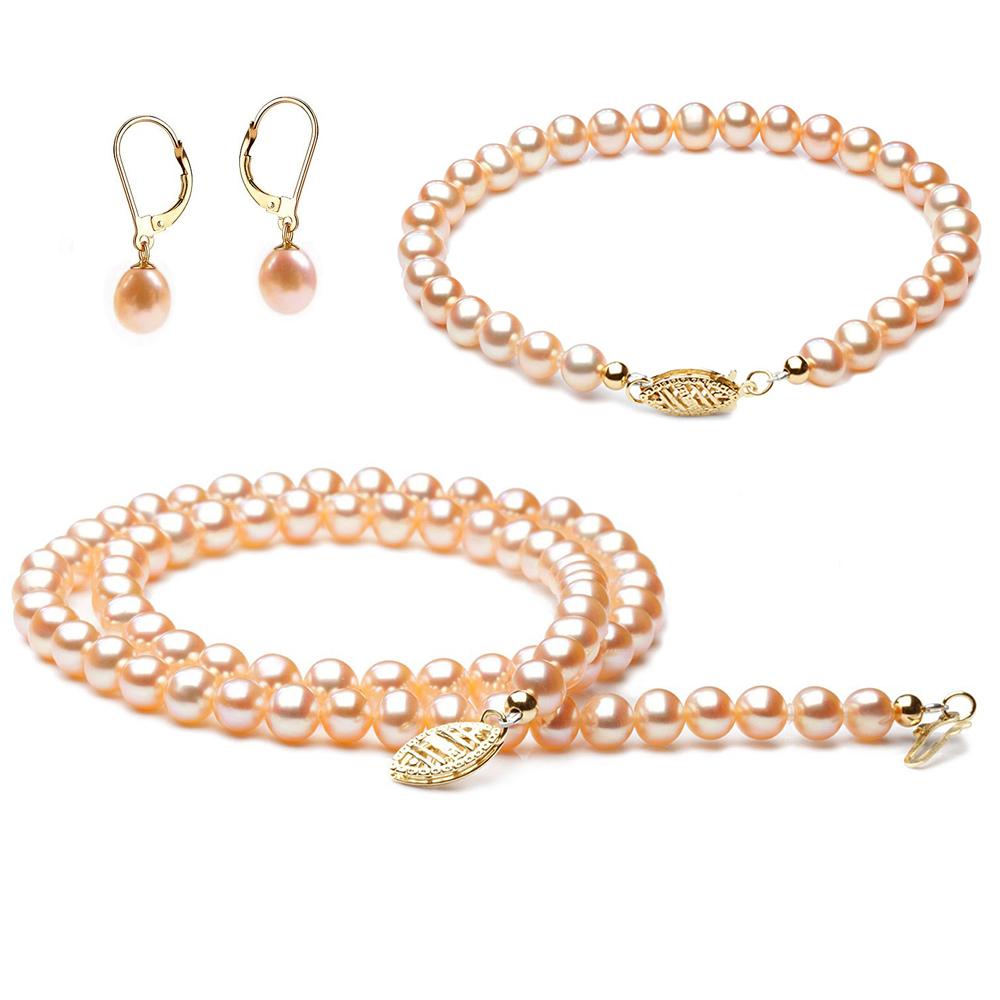 Parure perle rose - Perles eau douce rosées - Or jaune