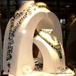 Vitrine exposant notre collection haut de gamme en perles de culture d'eau douce, perles de mer Akoya et perles de Tahiti