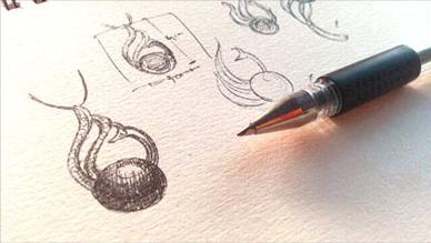 Dessin d'une pendentif en perle, oiseau paon