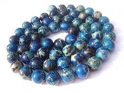 Perles de jaspe teintes en bleu