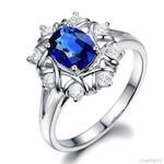 Bague Printanière (Saphir bleu, diamants, or blanc)