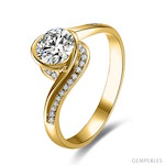 Bague Solitaire Or Jaune Diamants